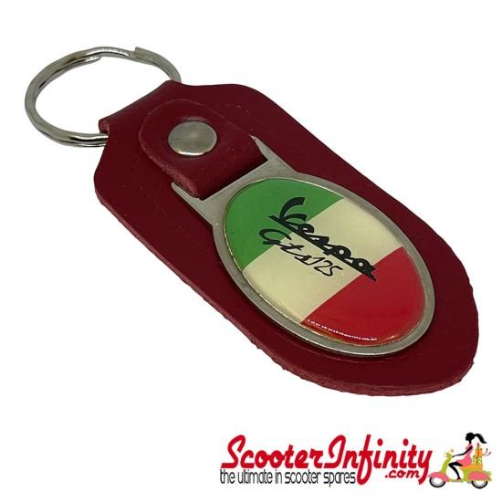 Key ring chain - Vespa GTS 125 Italian Flag (Red, Oval)