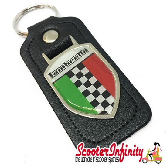 Key ring chain - Lambretta Italian Flag Check (Black, Shield)
