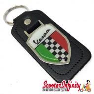 Key ring chain - Vespa Italian Flag Check (Black, Shield)