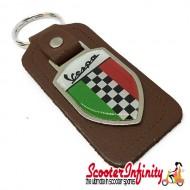 Key ring chain - Vespa Italian Flag Check (Brown)