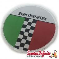 Patch Clothing Sew On - Lambretta Italian Flag Check (80mm, 80mm)