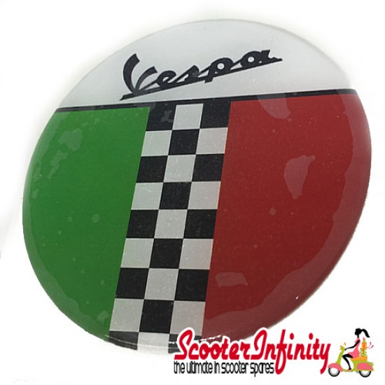 Badge Sticker Domed - Vespa Italian Flag Check (75mm, 75mm)