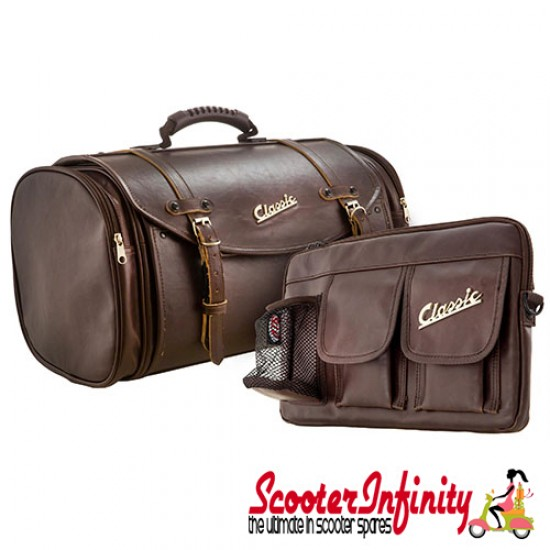 Case Top Box / Roll Bag SET Classic SIP Style - VESPA PX GTS/GT/GTV/LX LAMBRETTA (FITS TO ANY CARRIER) (35L) (Brown Faux Leather)