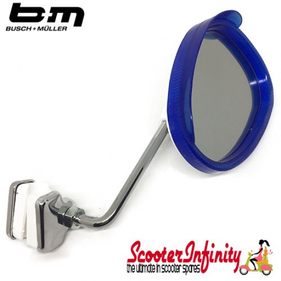 Mirror Clamp On RIGHT Hand (Universal Scooter Fitting) (BUMM) (Blue / White) (Vespa / Lambretta)