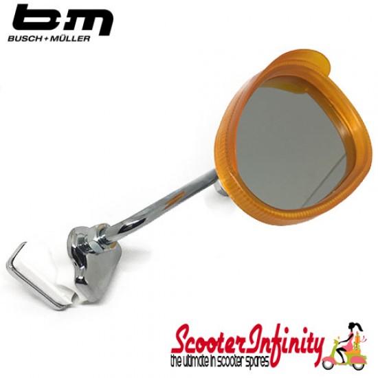 Mirror Clamp On RIGHT Hand (Universal Scooter Fitting) (BUMM) (Orange / White) (Vespa / Lambretta)