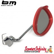 Mirror Clamp On RIGHT Hand (Universal Scooter Fitting) (BUMM) (Red / White) (Vespa / Lambretta)