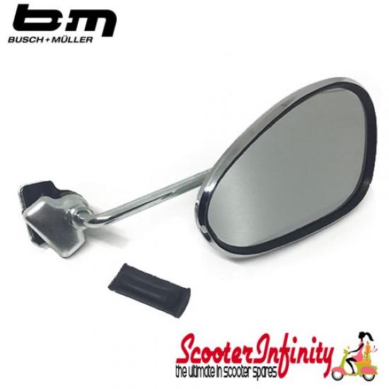 Mirror Clamp On RIGHT Hand (120 x 70mm) (Universal Scooter Fitting) (BUMM) (Chrome) (Vespa / Lambretta)