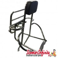 Carrier/Rack Rear 4in1 (with Backrest) (Chrome) (Vespa PX80-200/PE/Lusso/T5)