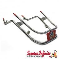 Crashbars / Bumper / Mudguard Front (Chrome, Double Tube, Red Emblem) (Cuppini) (Vespa PX80-200/PE /Lusso/T5 Classic)