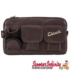 "Bag Glovebox Toolbox ""Classic"" (SIP) (Brown Faux Leather) (Fits around glovebox door) (Classic Vespa, Modern Vespa)"