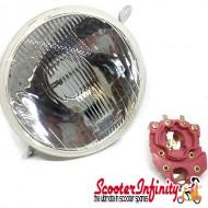 Headlight Unit ELMA (Round, Real Glass Lens) (Vespa PX80-200/PE/Lusso /`98)