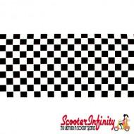 Sticker plaid (PAIR, 2 pcs, black/white,  L 530mm, W 65mm, 6mm, (ideal for Vespa PX side panel/fender!)