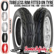 PACKAGE: Wheel Rim Tubeless SIP fitted onto your Choice of Tyre (Select Your Options) (Tyre: 3.50x10 - Rim: 2.10x10) (Lambretta)