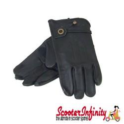 Gloves / Corazzo Cordero Black Leather (Scooter Gloves, Mod Stylish)