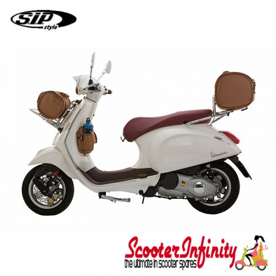 Case Top Box / Roll Bag Classic SIP Style - VESPA PX GTS/GT/GTV/LX LAMBRETTA (FITS TO  ANY CARRIER) (10L) (Beige or Brown)