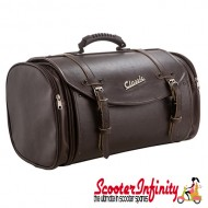 Case Top Box / Roll Bag Classic SIP Style - VESPA PX GTS/GT/GTV/LX LAMBRETTA (FITS TO ANY CARRIER) (35L) (Brown Faux Leather)