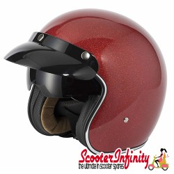 Helmet / MOD Vcan V537 (Open Face - Candy Red Flake - With Popdown Sunvisor)