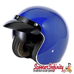 Helmet / MOD Vcan V537 (Open Face - Blue Flake - With Popdown Sunvisor)