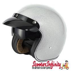 Helmet / MOD Vcan V537 (Open Face - Silver Flake - With Popdown Sunvisor)
