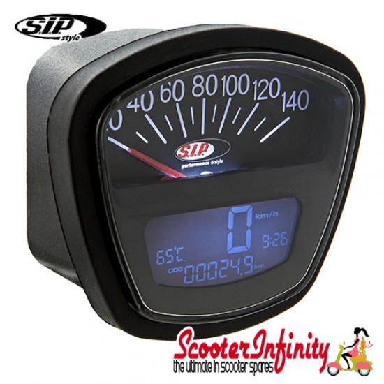SIP Digital Speedo / Rev Counter *NEW V2.0* (Black Face) (Lambretta DL, GP, LI, SX, TV)