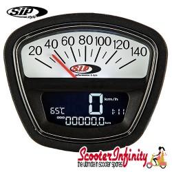 SIP Digital Speedo / Rev Counter *NEW V2.0* (Black/White Face) (Lambretta DL, GP, LI, SX, TV)