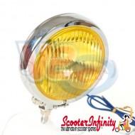 Spotlight / Spotlamp Chrome with Yellow Glass Mod Style (120mm, High Quality, Halogen - 12v, 55w) (Vespa / Lambretta)