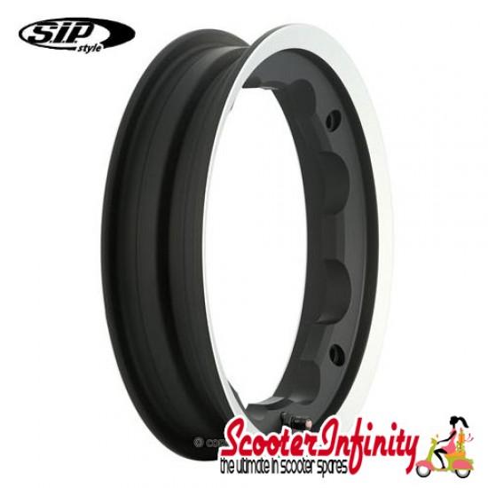 Wheel Rim Tubeless SIP Black Polished Edge (aluminium, KBA 50164, valve premounted) (2.10x10) (Lambretta)