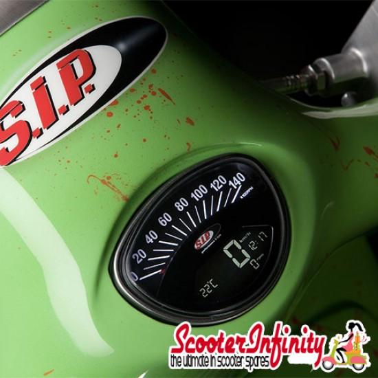 SIP Digital Speedo / Rev Counter *NEW V2.0* (Black Face) (Vespa 50 SS/90 SS/125 /PV/ET3/GTR/TS/Super/150 Sprint V/Super/Rally)