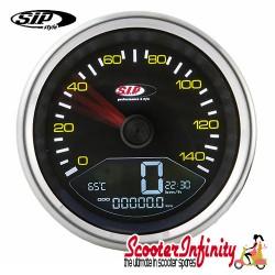 SIP Digital Speedo / Rev Counter *NEW V2.0* (Black Face) (Vespa P80-150X/PX80 -200E/Lusso 1?/P150S/P200E)