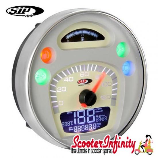 SIP Digital Speedo / Rev Counter *NEW V2.0* (White/Beige Face) (Vespa PX/MY/T5 Classic)