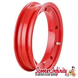 Wheel Rim Tubeless SIP Red (aluminium, KBA 50164, valve premounted) (2.10x10) (Vespa) (P, PE, PX, T5, Rally, LML)