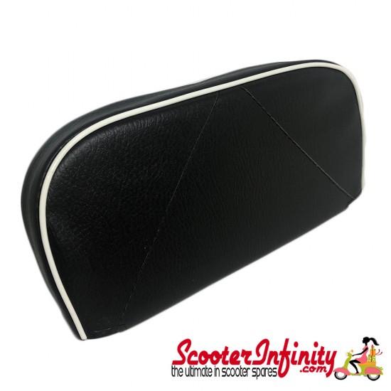 Backrest Pad (Black, White Piping) (Universal, Vespa / Lambretta)