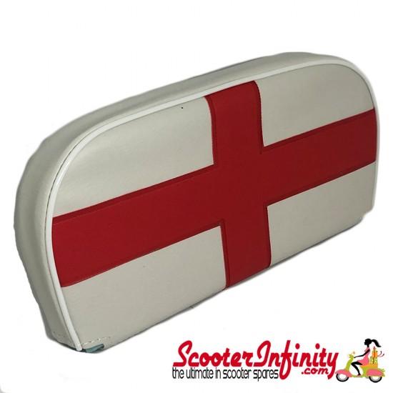 Backrest Pad (White, St George Cross) (Universal, Vespa / Lambretta)
