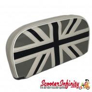 Backrest Pad (Union Jack Flag Black Silver) (Universal, Vespa / Lambretta)