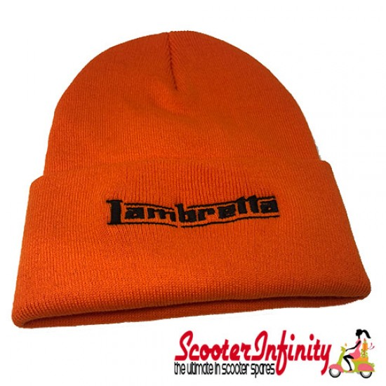 Beanie Hat Lambretta (Orange, Black Logo)