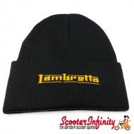 Beanie Hat Lambretta (Black, Gold Yellow Logo)
