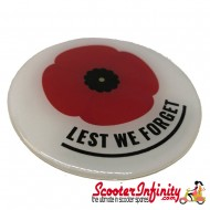 """Badge Sticker Domed - Poppy Remembrance Day """"Lest We Forget"""" (75mm, 75mm)"""