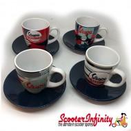 Espresso Coffee Cup Set VESPA (Blue Red White) (Genuine Piaggio) (4 Parts with Gift Box)