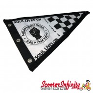 Flag Penant Northern Soul (Black Trim) (300x180mm) (With Eye Holes, for Whip Aerial)