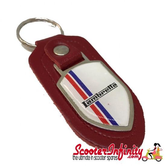 Key ring chain - Lambretta British Stripes (Red, Shield)