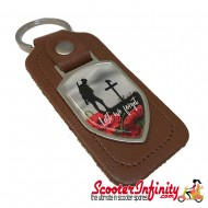 """Key ring chain - Poppy Soldier Remembrance Day """"Lest We Forget"""" (Brown)"""