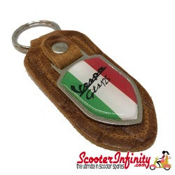 Key ring chain - Vespa GTS 125 Italian Flag (Retro Leather, Shield)
