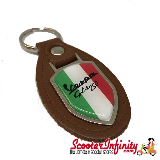 Key ring chain - Vespa GTS 250 Italian Flag (Brown, Shield)