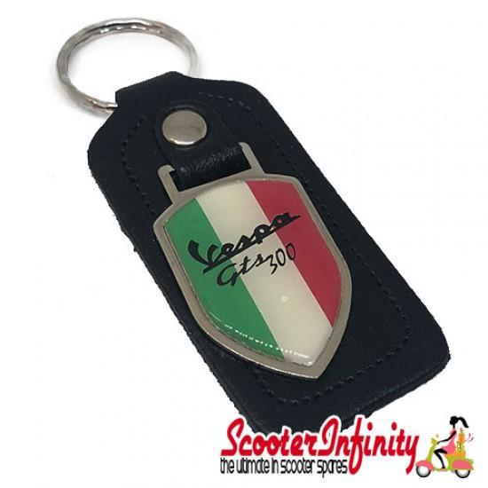 Key ring chain - Vespa GTS 300 Italian Flag (Black, Shield)