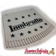 Mudflap Lambretta (Black on White Fringed / Ken Cobbin) (Universal Lambretta Fitment)