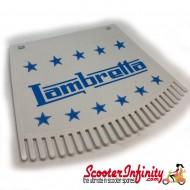 Mudflap Lambretta (Blue on White Fringed / Ken Cobbin) (Universal Lambretta Fitment)