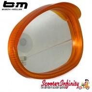 Mirror Head LEFT Hand (Scooter) (for 7mm Stem) (BUMM) (Orange / White) (Vespa / Lambretta)