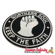 """Patch Clothing Sew On - Northern Soul """"Keep the Faith"""" (80mm, 80mm)"""