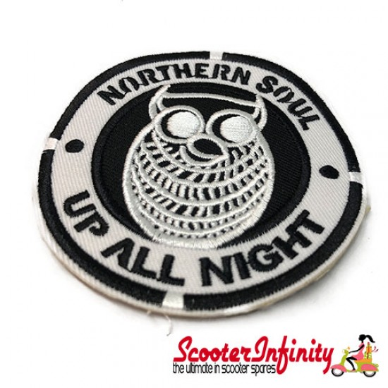 """Patch Clothing Sew On - Northern Soul Owl """"Up All Night"""" (80mm, 80mm)"""