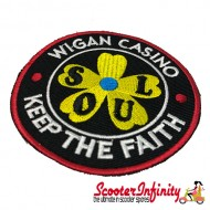 """Patch Clothing Sew On - Northern Soul """"Wigan Casino - Keep The Faith"""" (80mm, 80mm)"""
